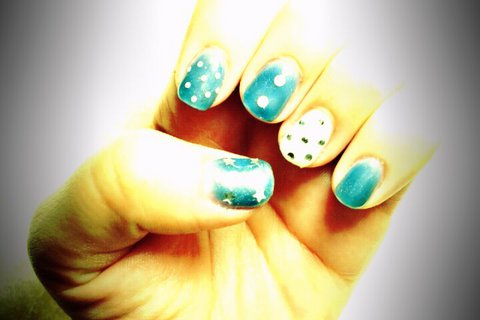 Navy blue polka dots