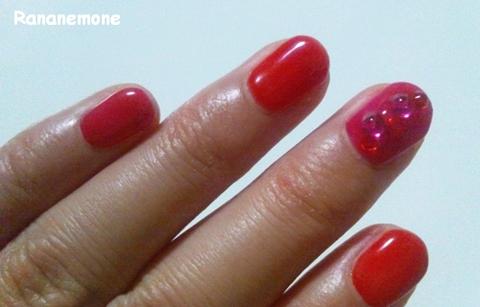 ピンク×オレンジ ショートネイル