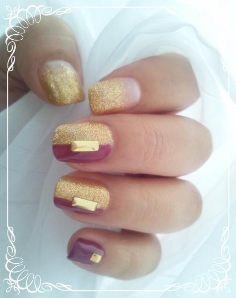 ゴールド×パープルネイル