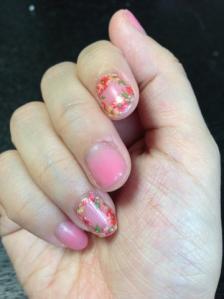 お花シール♪ピンクネイル
